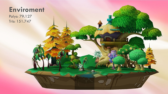 cartoon forest 3d model low-poly max obj 1