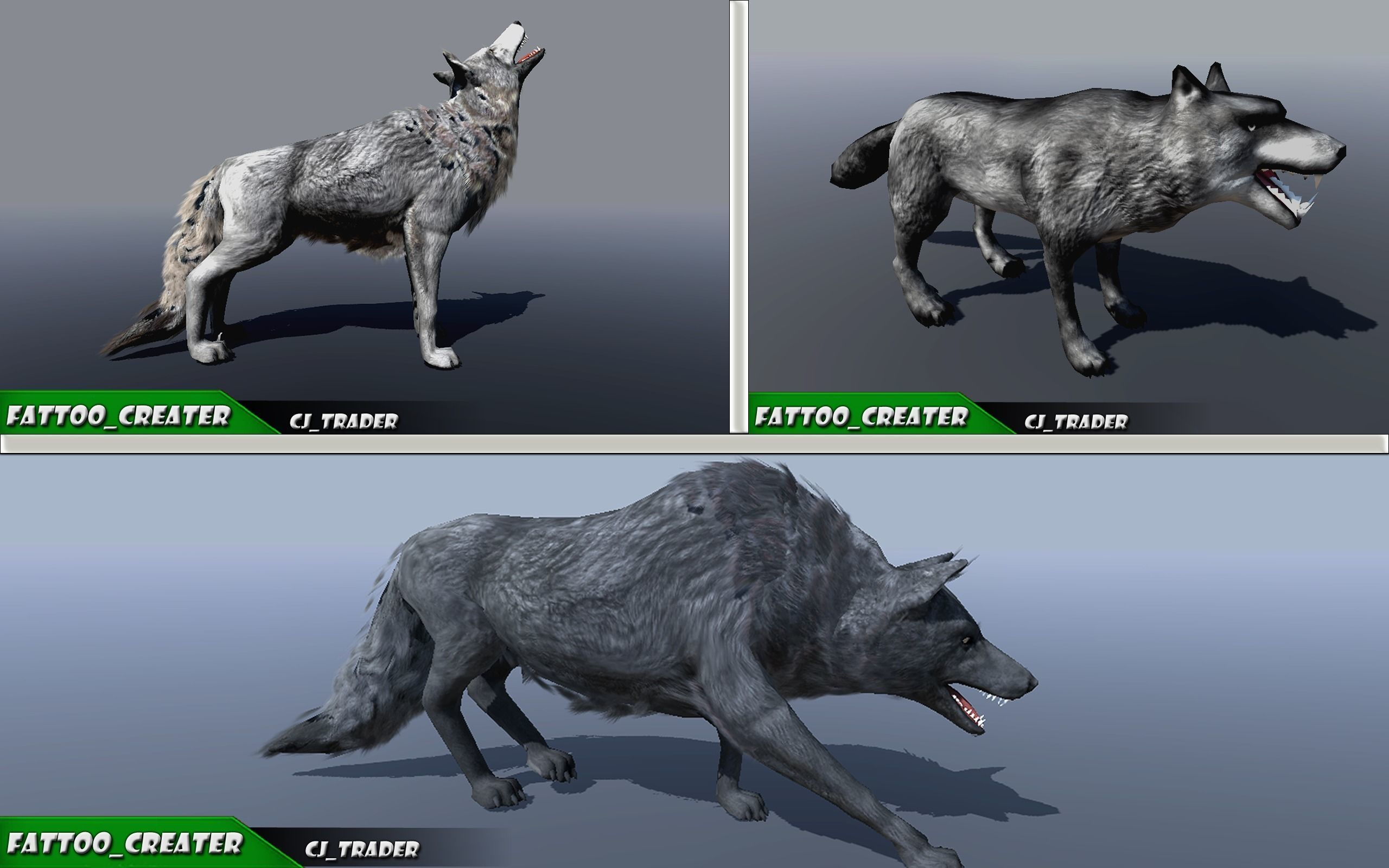 Low-Poly Wild Animal Wolf Collection Pack Rigged 3D Model