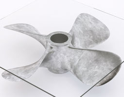 3d glass coffee table with a ship propeller