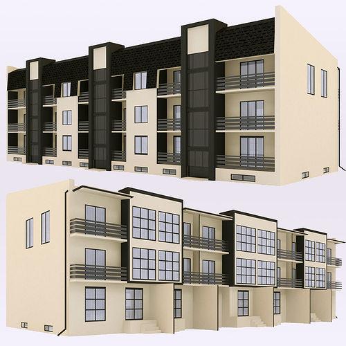 modern townhouse 2 3d model max obj 3ds fbx mtl 1