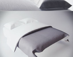 3D Modern Bed with bedding