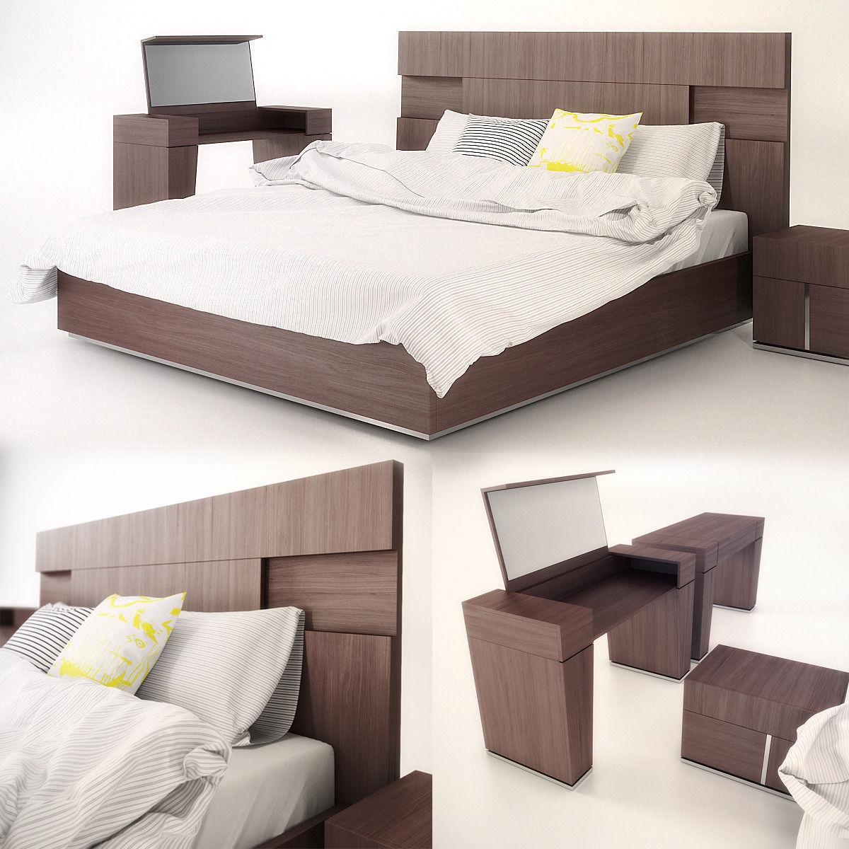 Modern Bedroom Bedding Modern Bed With Bedding 1 3d Model Max Fbx Cgtradercom