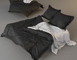3D model sleeping bedroom Modern Bed with bedding