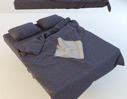 Modern Bed with bedding 3D model bedroom