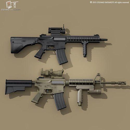 m4 rifle 3d model obj mtl 3ds fbx c4d dxf dae 1