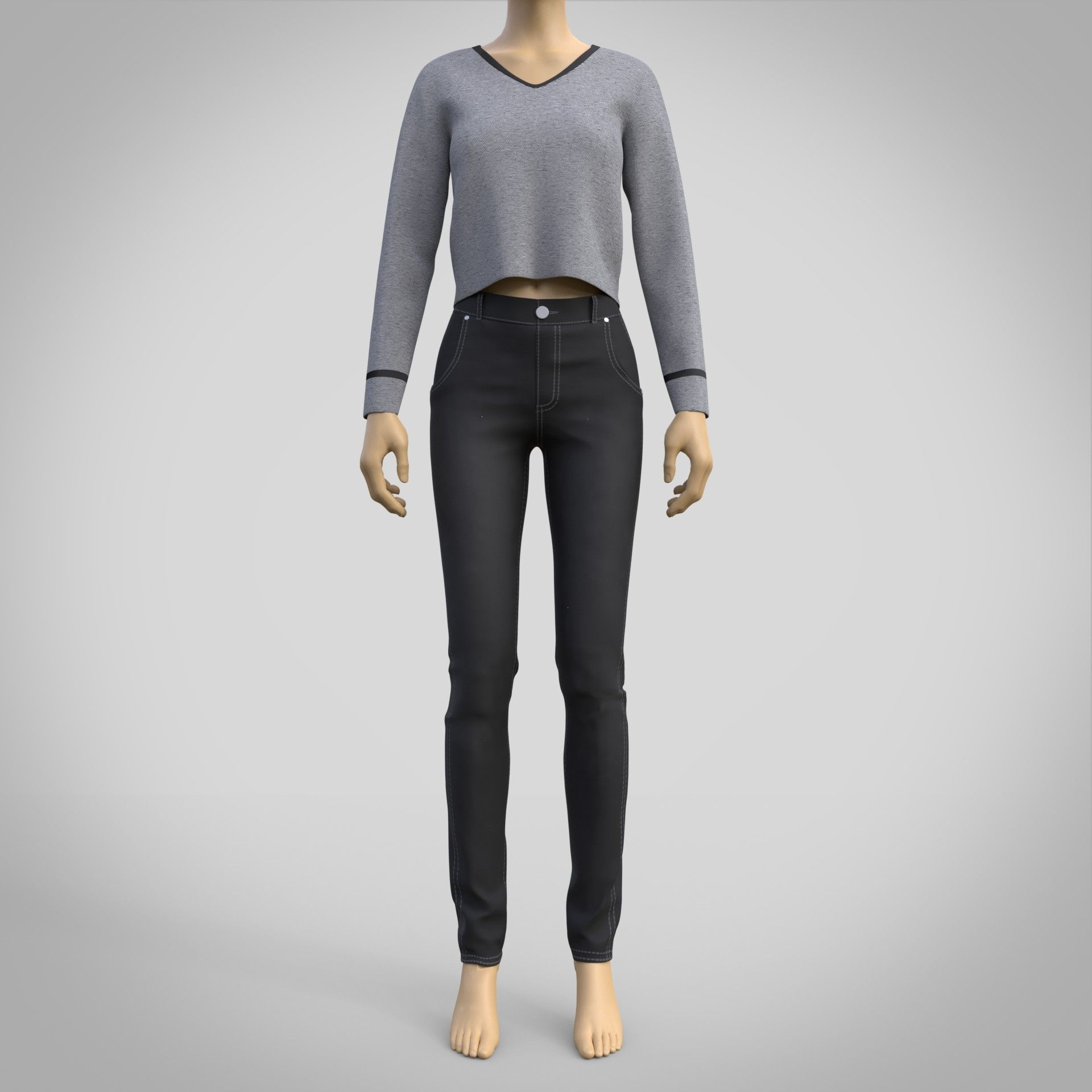 casual outfit - denim pants and sweater