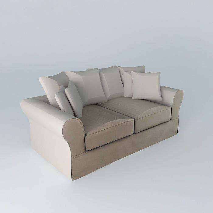 sofa 3seat taupe bastide maisons du monde 3d model max obj. Black Bedroom Furniture Sets. Home Design Ideas