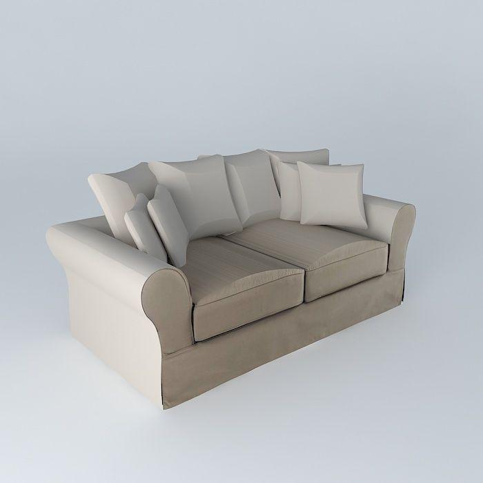 Sofa 3seat taupe bastide maisons du monde 3d model max for Maison du monde sofas