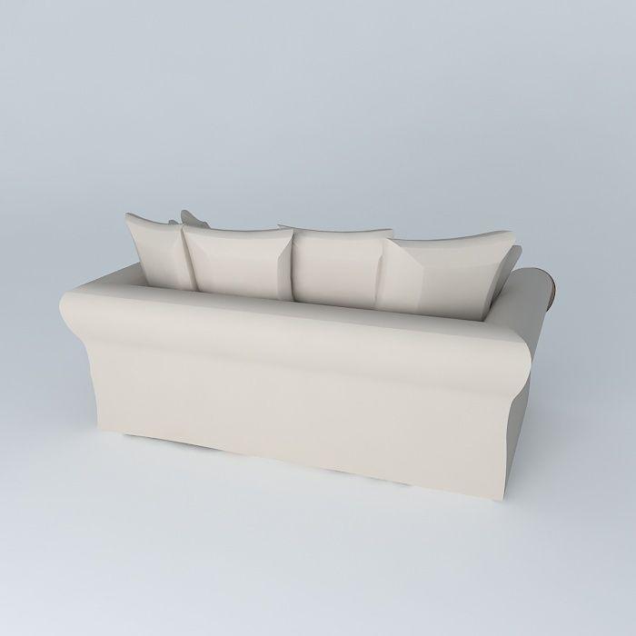sofa 3seat taupe bastide maisons du monde 3d model max obj 3ds fbx stl dae. Black Bedroom Furniture Sets. Home Design Ideas