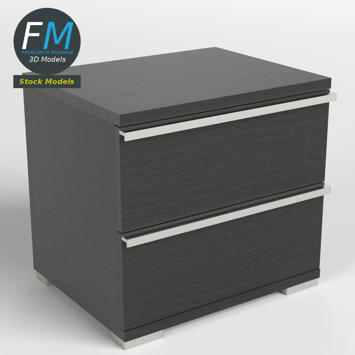 Two drawers bedside table