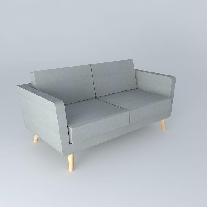 2 3 seater sofa nils grey maisons du monde 3d model max obj 3ds fbx stl dae. Black Bedroom Furniture Sets. Home Design Ideas