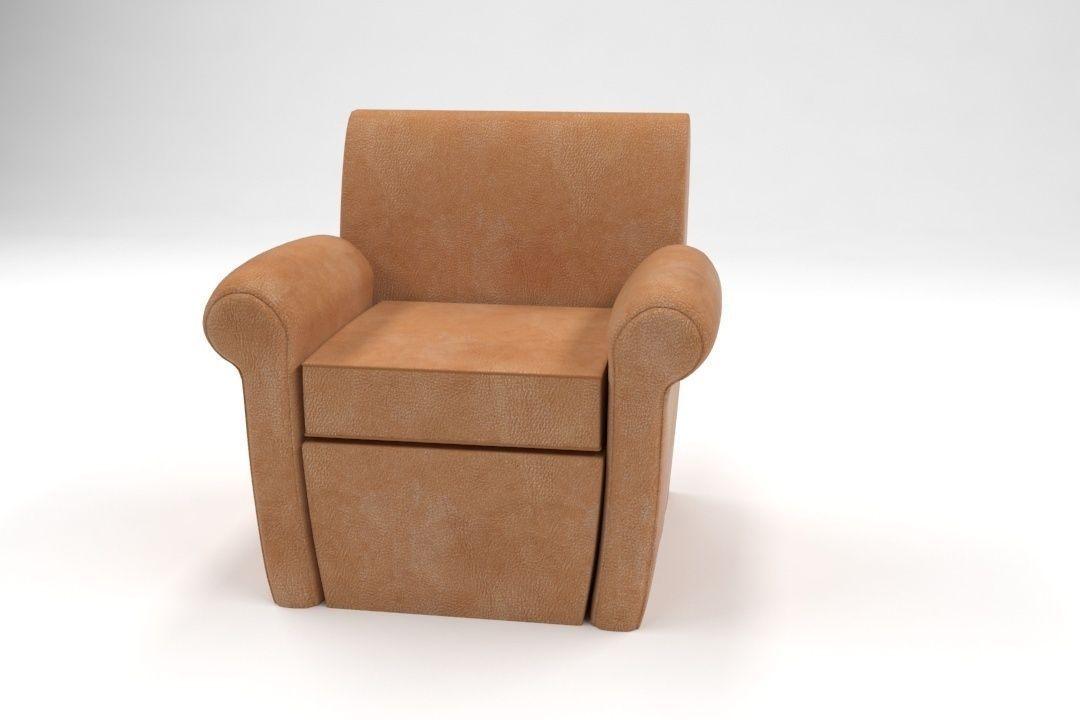 Pottery Barn Manhattan Leather Club Chair Model Max Fbx 2