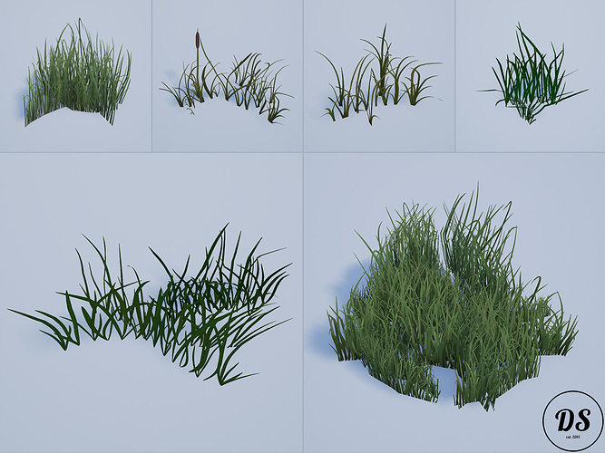 realistic grass 1 3d model low-poly fbx tga 1