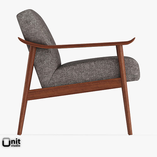 ... Mid Century Show Wood Upholstered Chair By West Elm 3d Model Max Obj  3ds Fbx ...