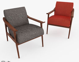 mid-century show wood upholstered chair by west elm 3d model max obj 3ds fbx dwg