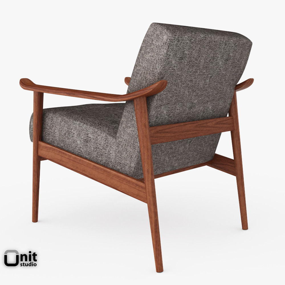 mid century show wood upholstered chair by 3d model max obj 3ds fbx dwg. Black Bedroom Furniture Sets. Home Design Ideas