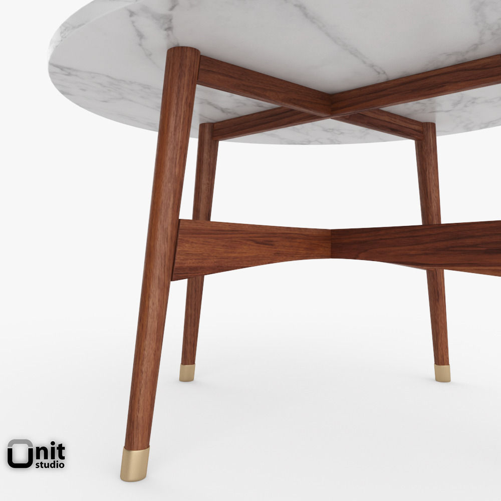 Reeve mid century round coffee table by we 3d model max for West elm c table