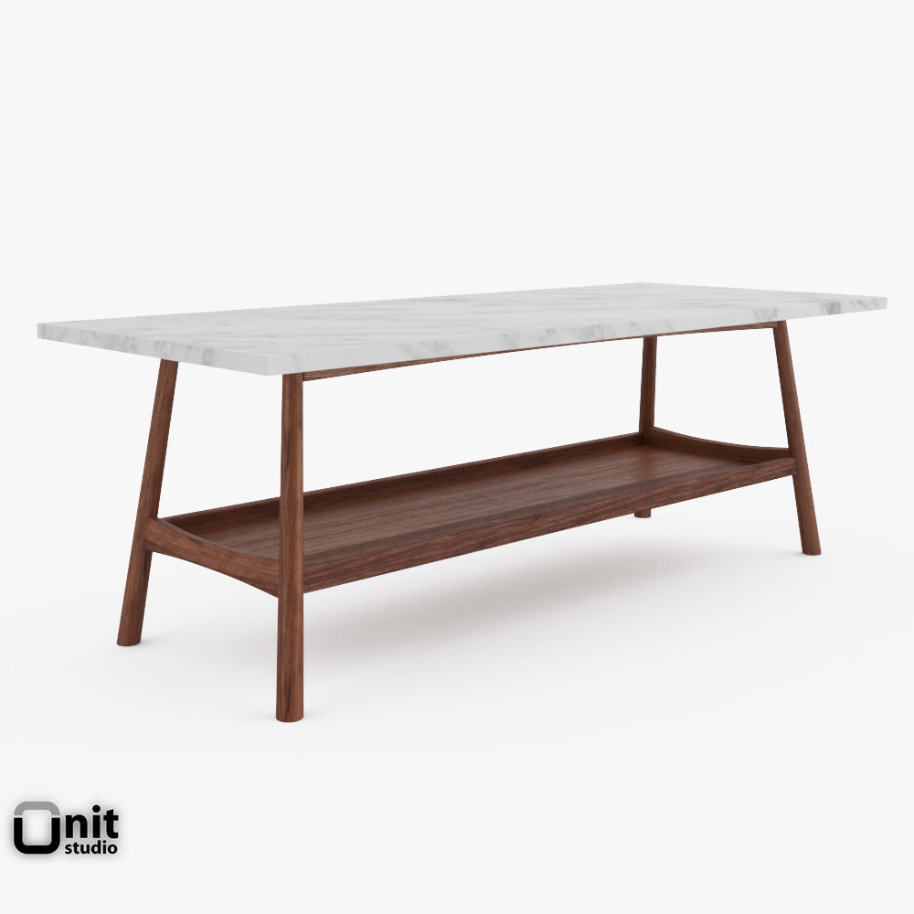 Reeve mid century rectangular coffee table 3d model max for West elm c table