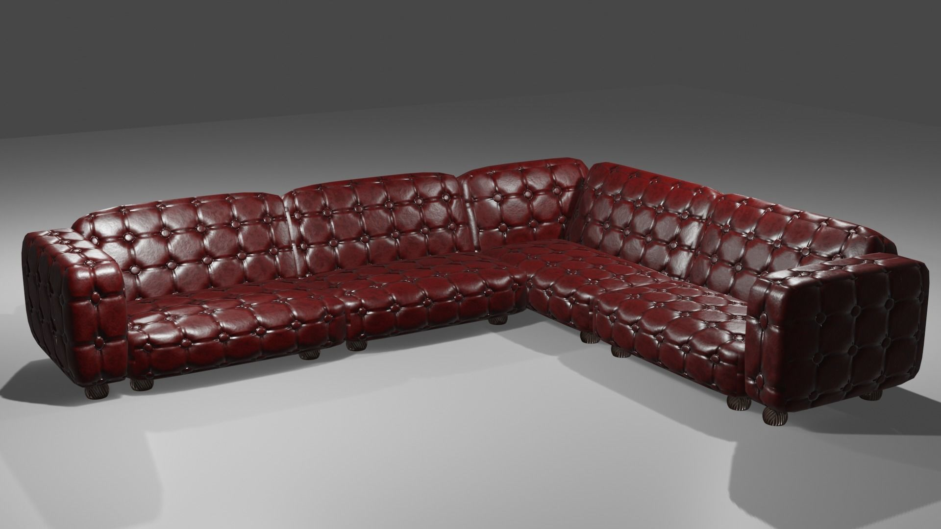 Game ready dark brown red leather sofa couch 3D model | 3D model