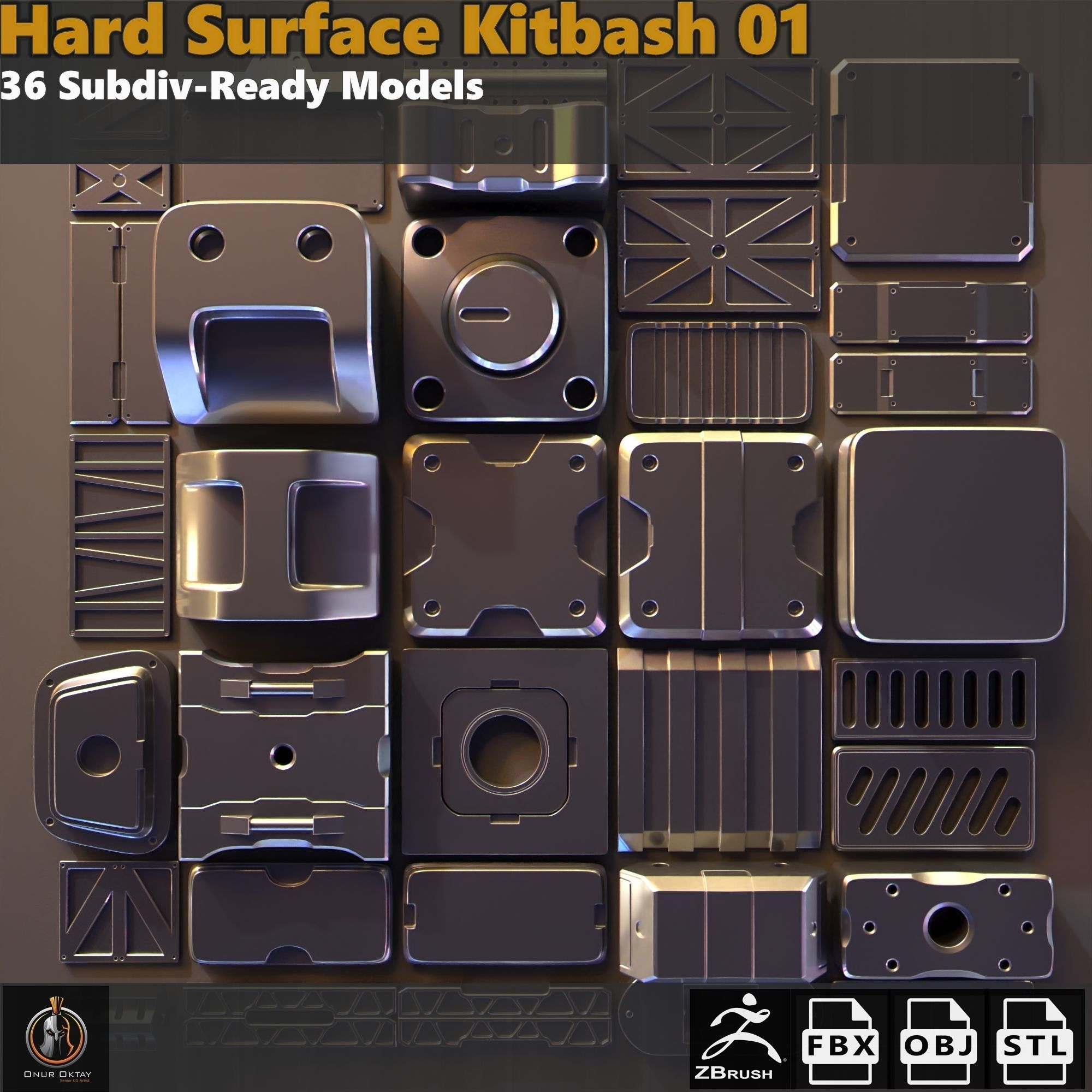 Hard Surface Kitbash 01 - Subdiv-Ready | 3D model