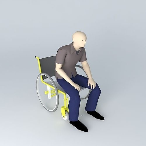 wheelchair 3d 3d model max obj 3ds fbx stl skp 1