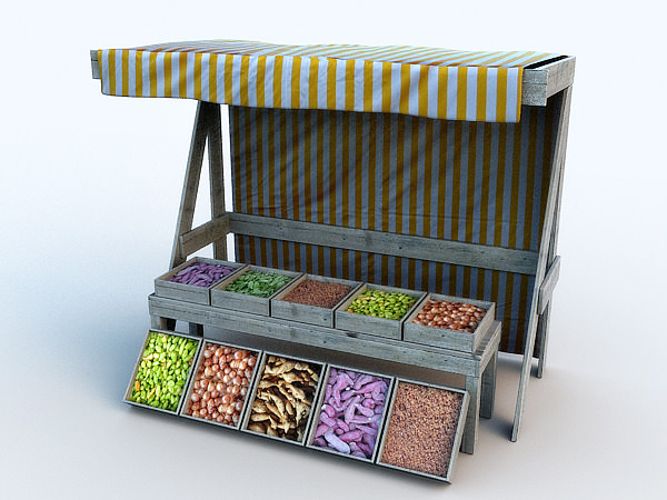 Vegetable Kiosk 3d Model Max Obj 3ds Fbx Cgtrader Com