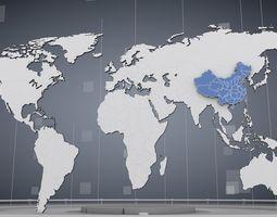 cinema 4d world map 3d model