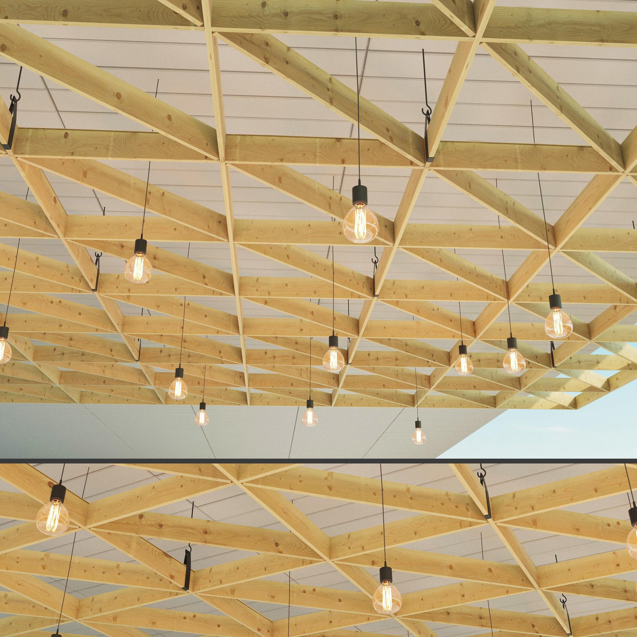 Wooden Suspended Ceiling 3 3d Model