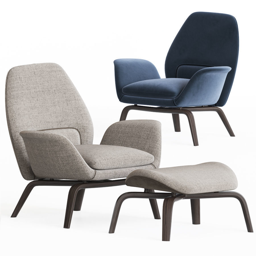 3d Model Gilliam Armchair And Ottoman Set By Minotti