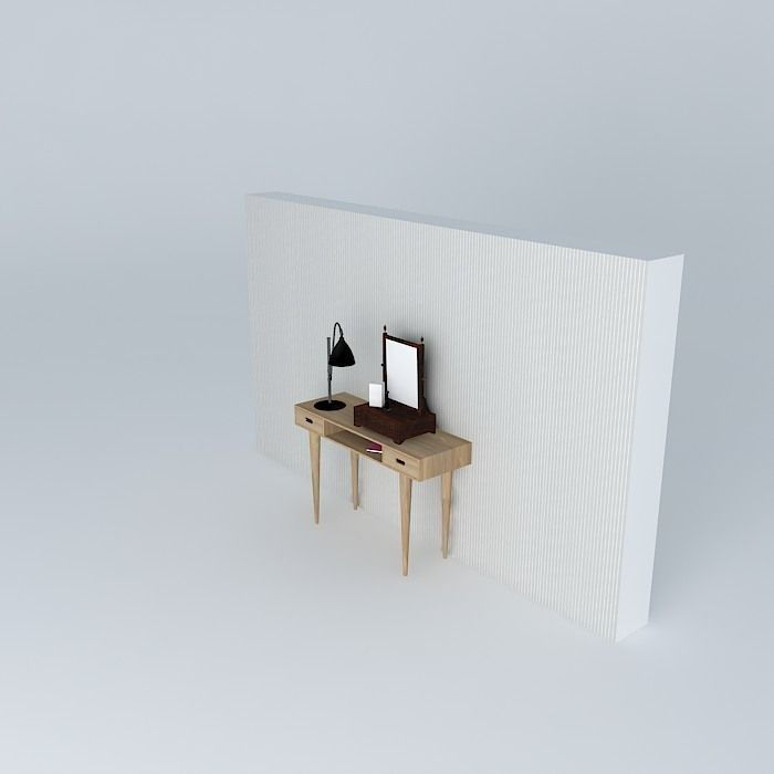 Light Wood Console Table With Dressing Table Mirror 3d Model Max Obj