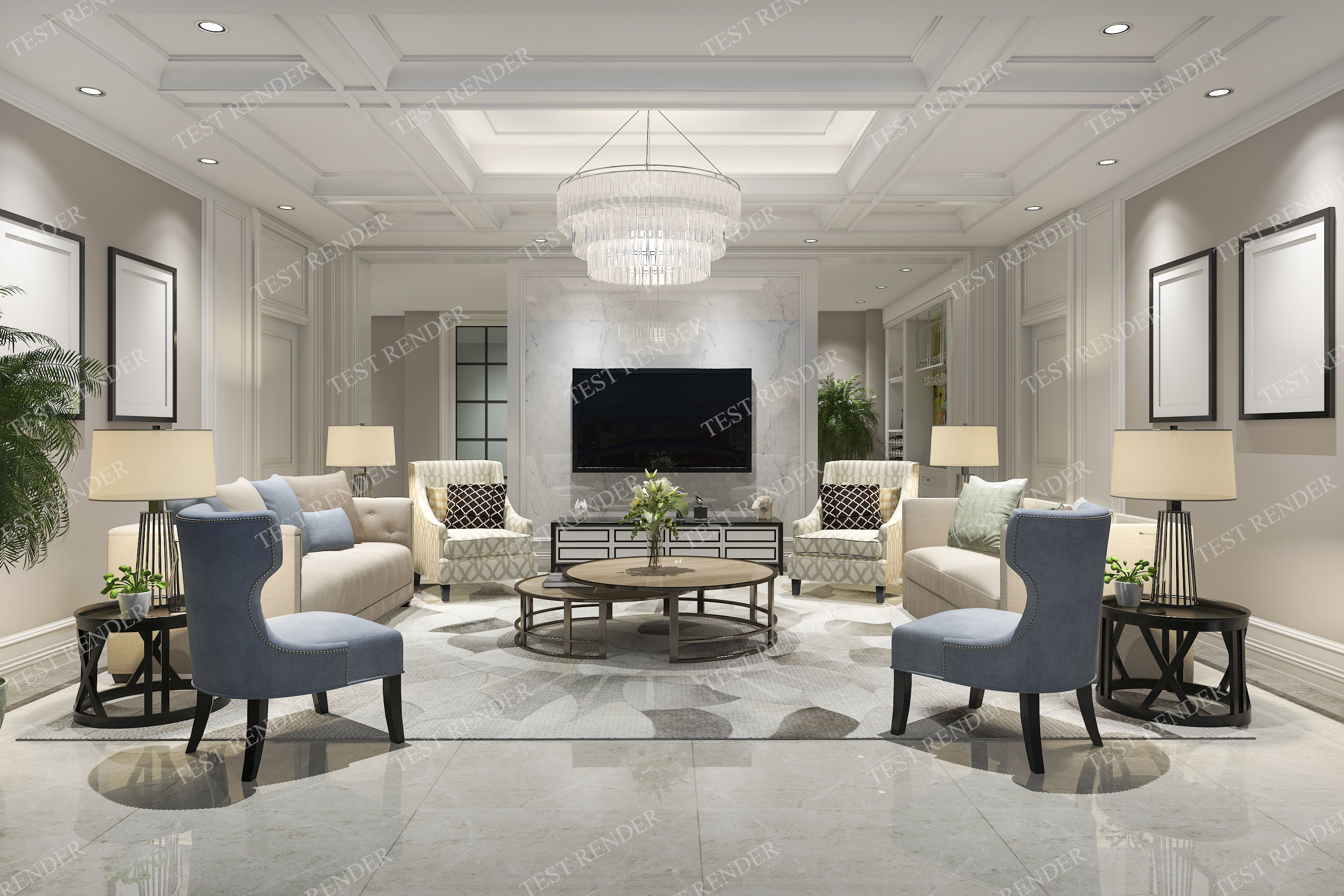 astounding 3d luxury living rooms | classic modern luxury living room with tv 3D model