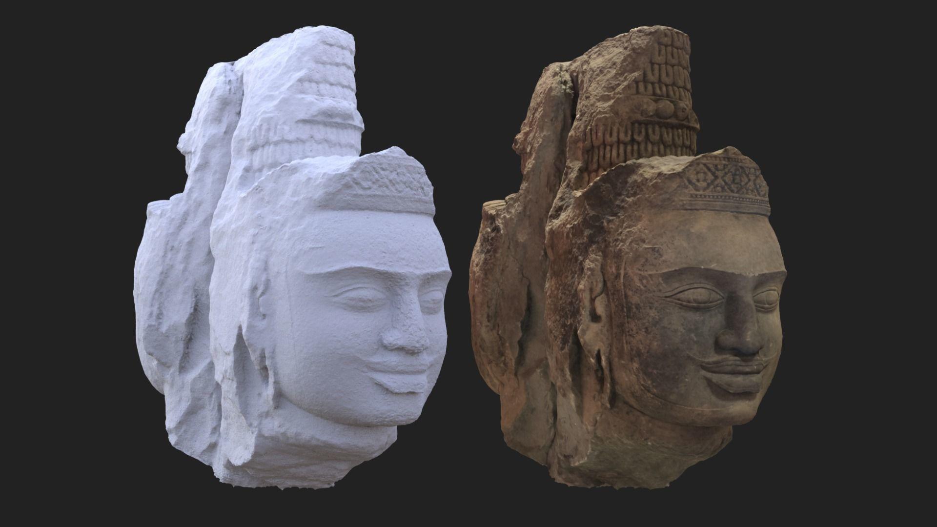 Brahma heads Cambodia Angkorian artifacts 3D Scan