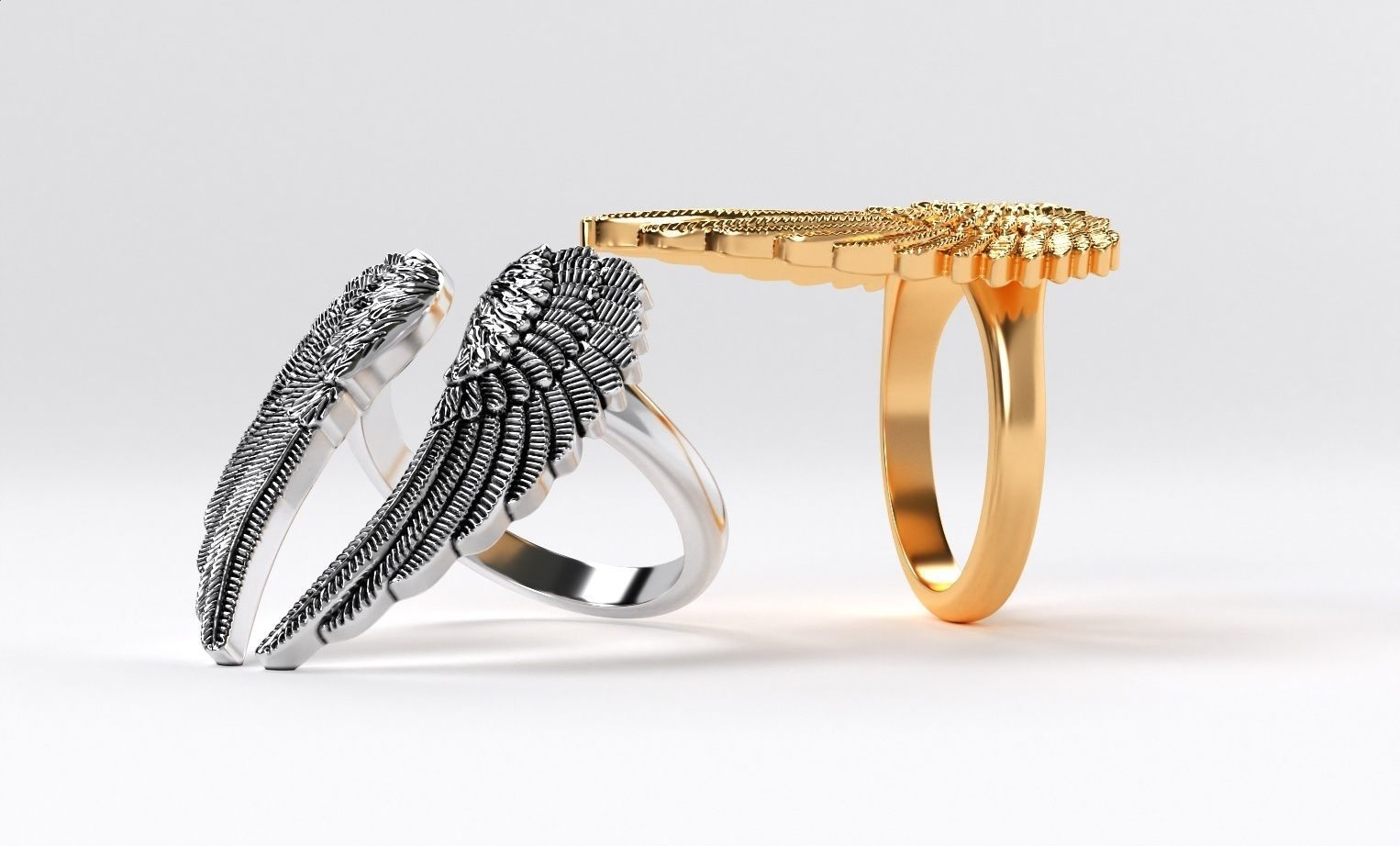 womanly wings ring  gold or oxidized silver