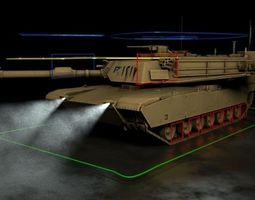 m1 abrams tank rigged 3d model realtime
