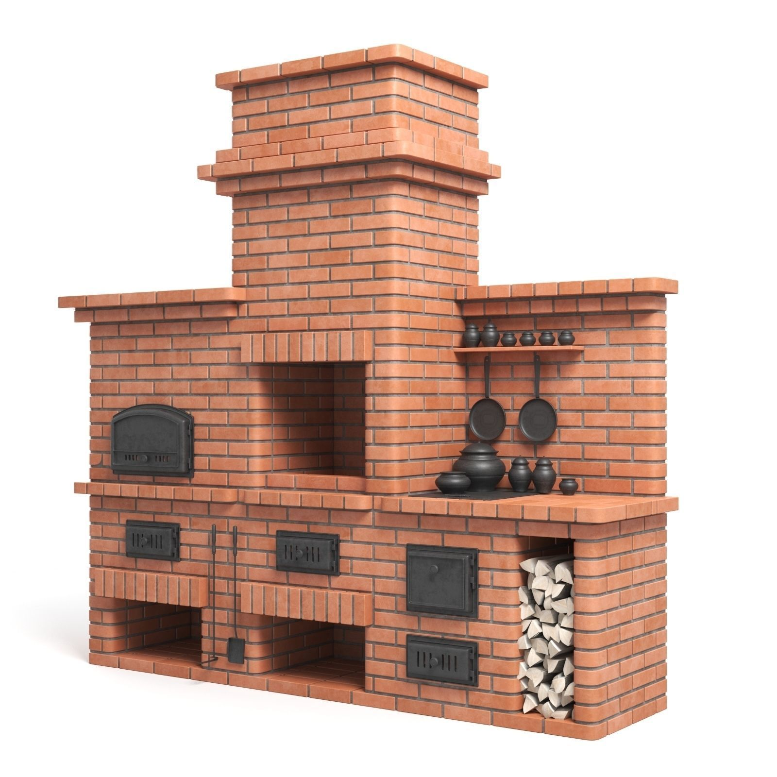 Red Brick Barbecue Oven