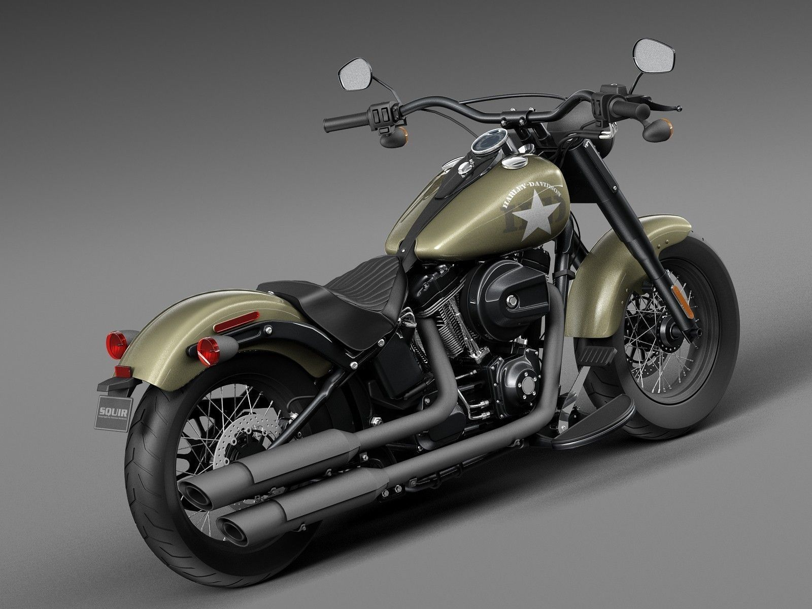 Harley Davidson Softail Slim S Army Design 3d Model