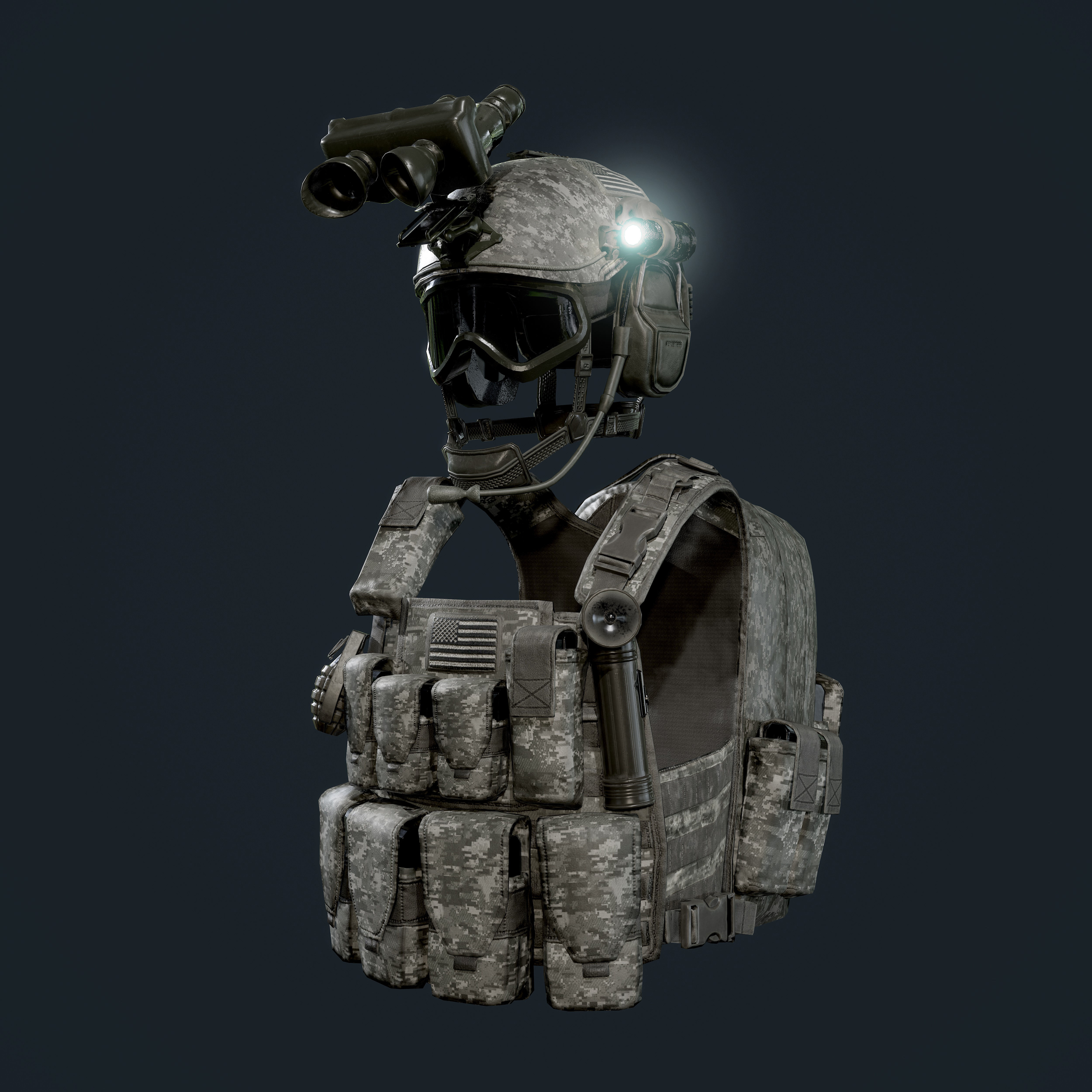 Military Gear Equipment Vest and Helmet Game Ready