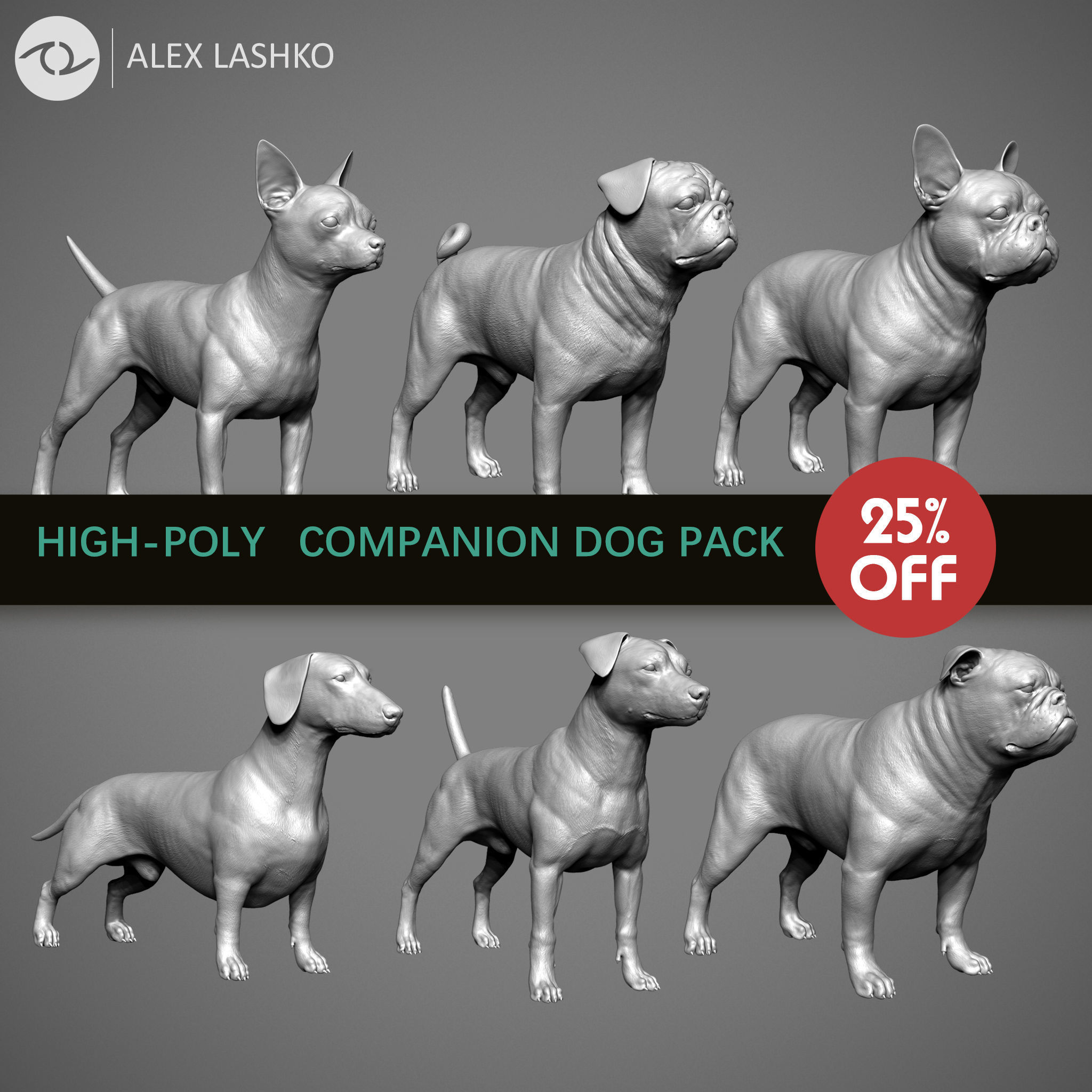 Companion Dog Pack High-Poly Collection