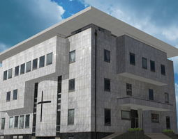game-ready modern religious building 3d asset