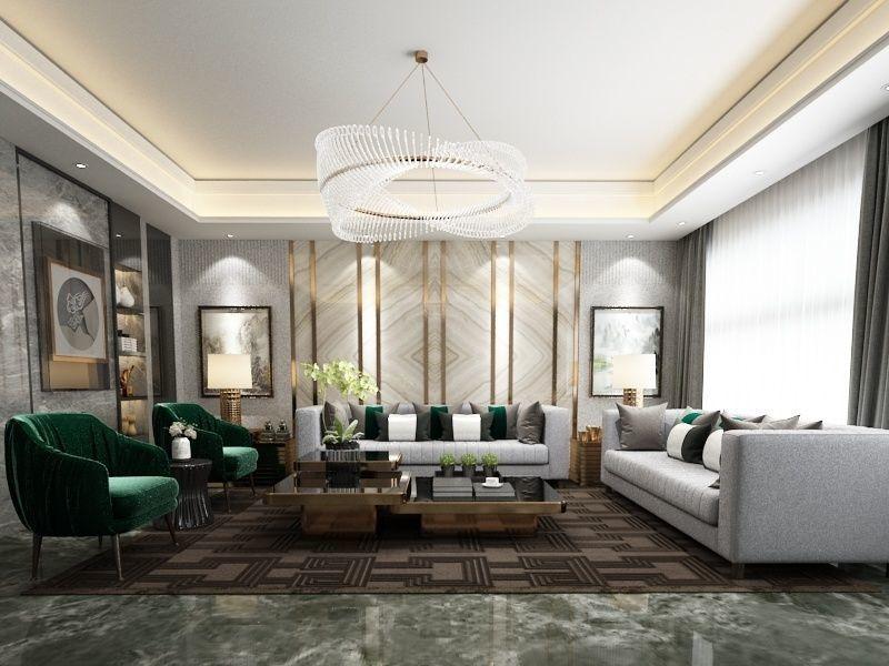 astounding 3d luxury living rooms | 3D model Post modern-Luxury Livingroom and its scene