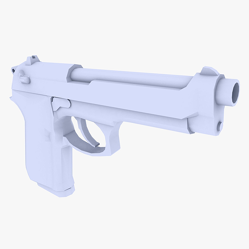 beretta m9 pistol 3d model low-poly max obj mtl 3ds fbx dxf 1