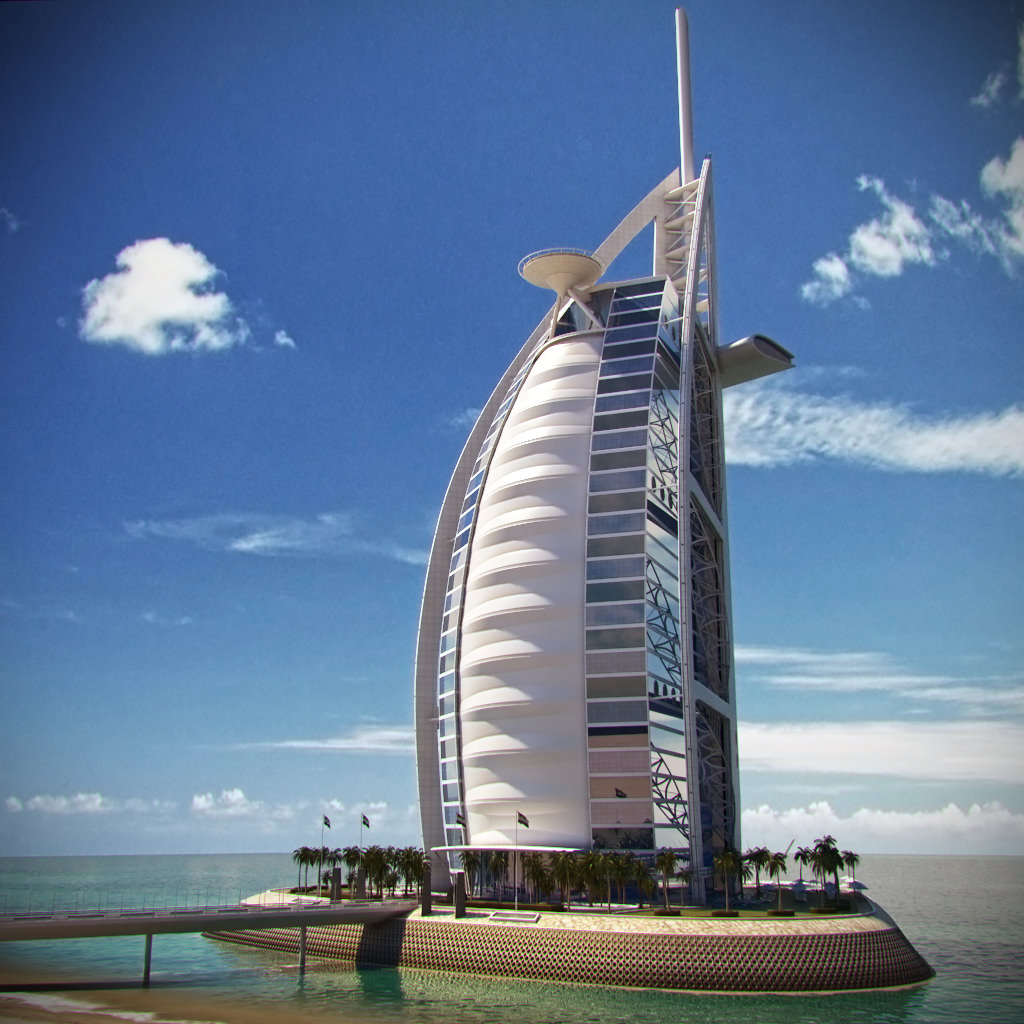 Burj al arab hotel 3d model max obj fbx for Burj arab hotel dubai