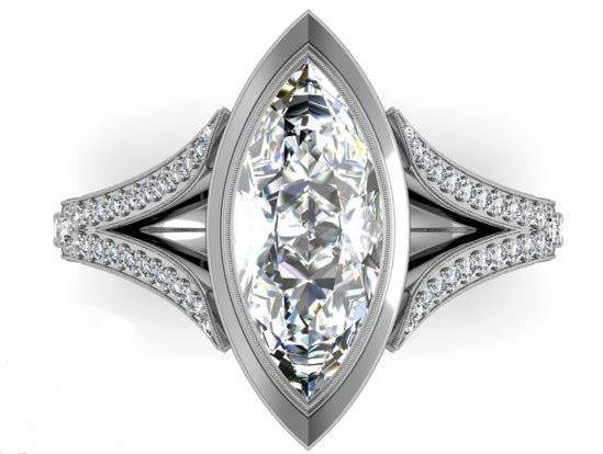 Etoile marquise engagement ring 3d model 3d printable stl for Model de marquise