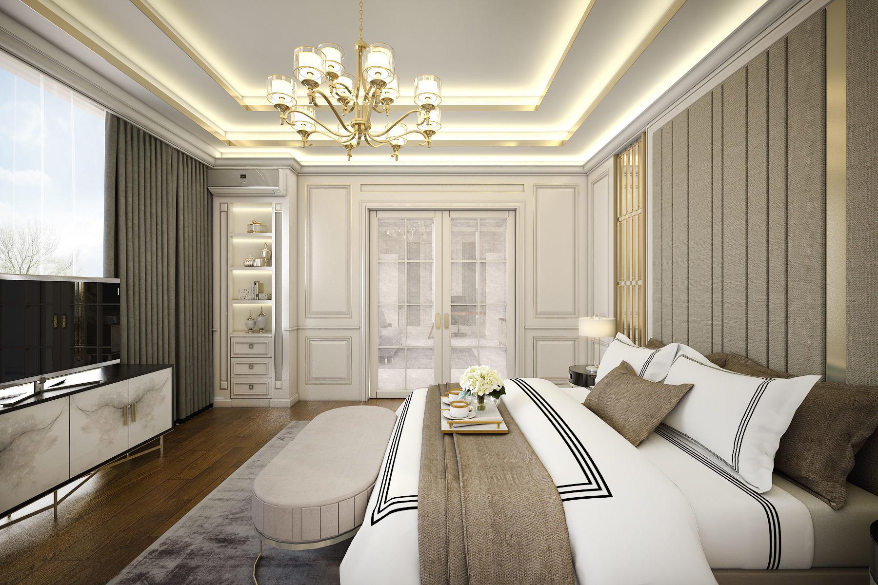 Contemporary Classic Bedroom 3D model SKP on New Model Bedroom Design  id=66097