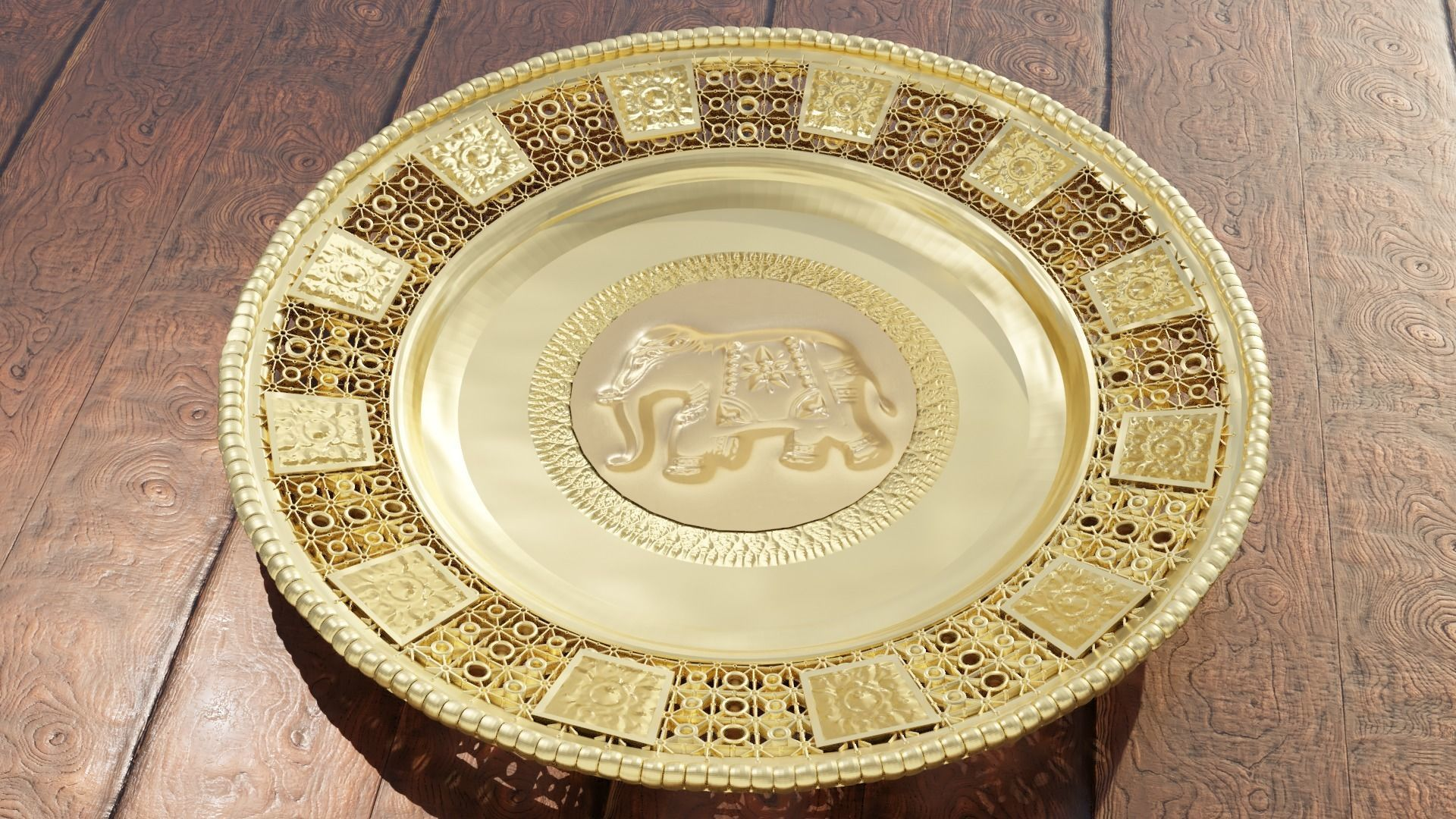 Decorative gold plate dish striped Lai Thai with asian Elephant