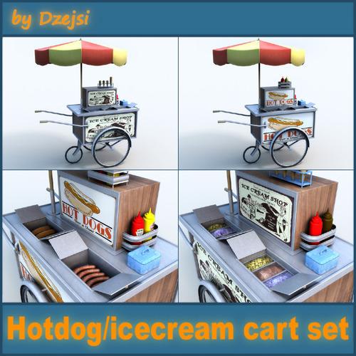 Hotdog icecream carts collection3D model