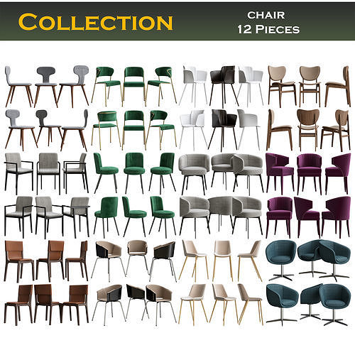 Collection of Chairs 3d model 12 pieces