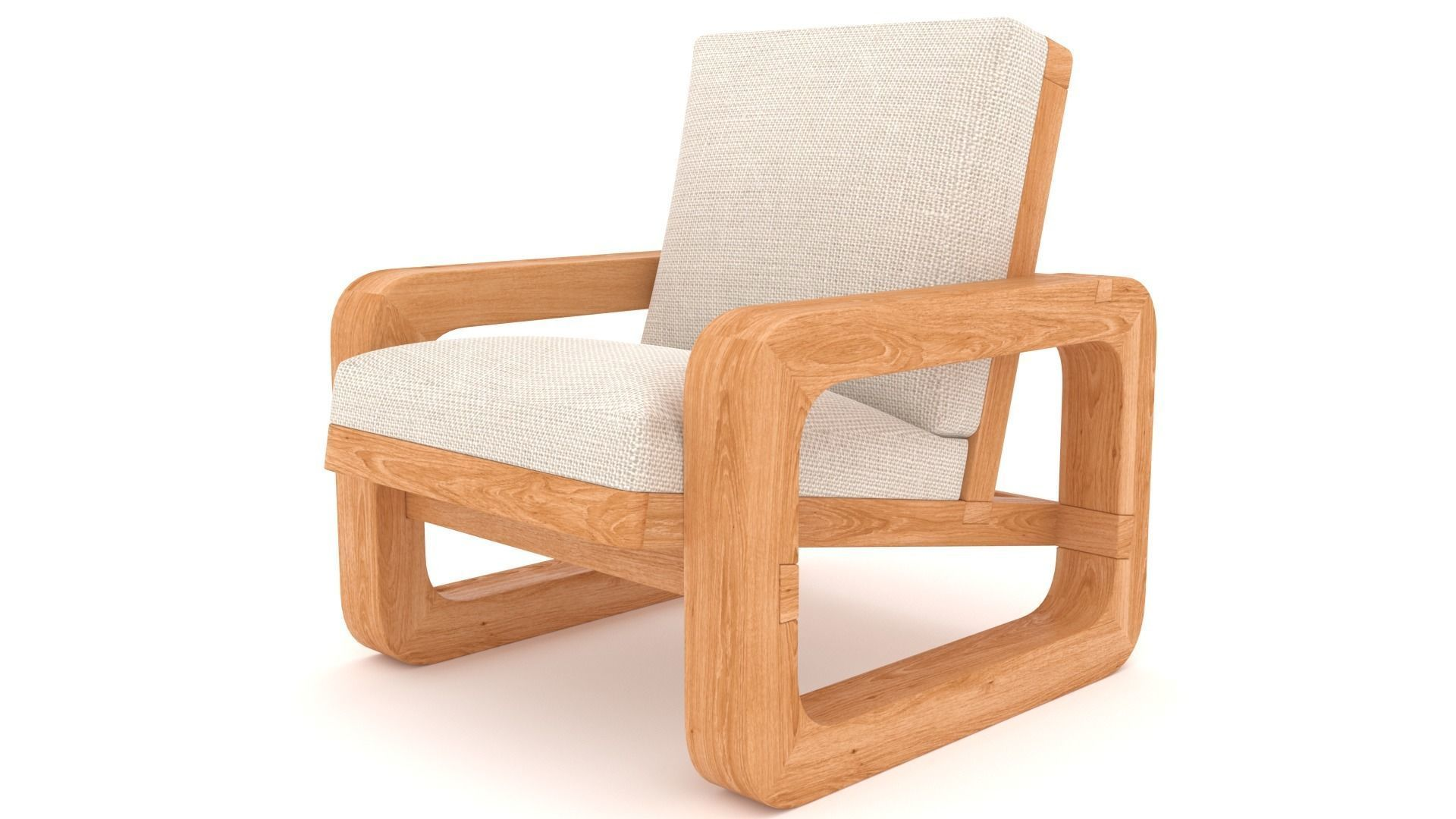 wooden armchair with soft seat 3ds max
