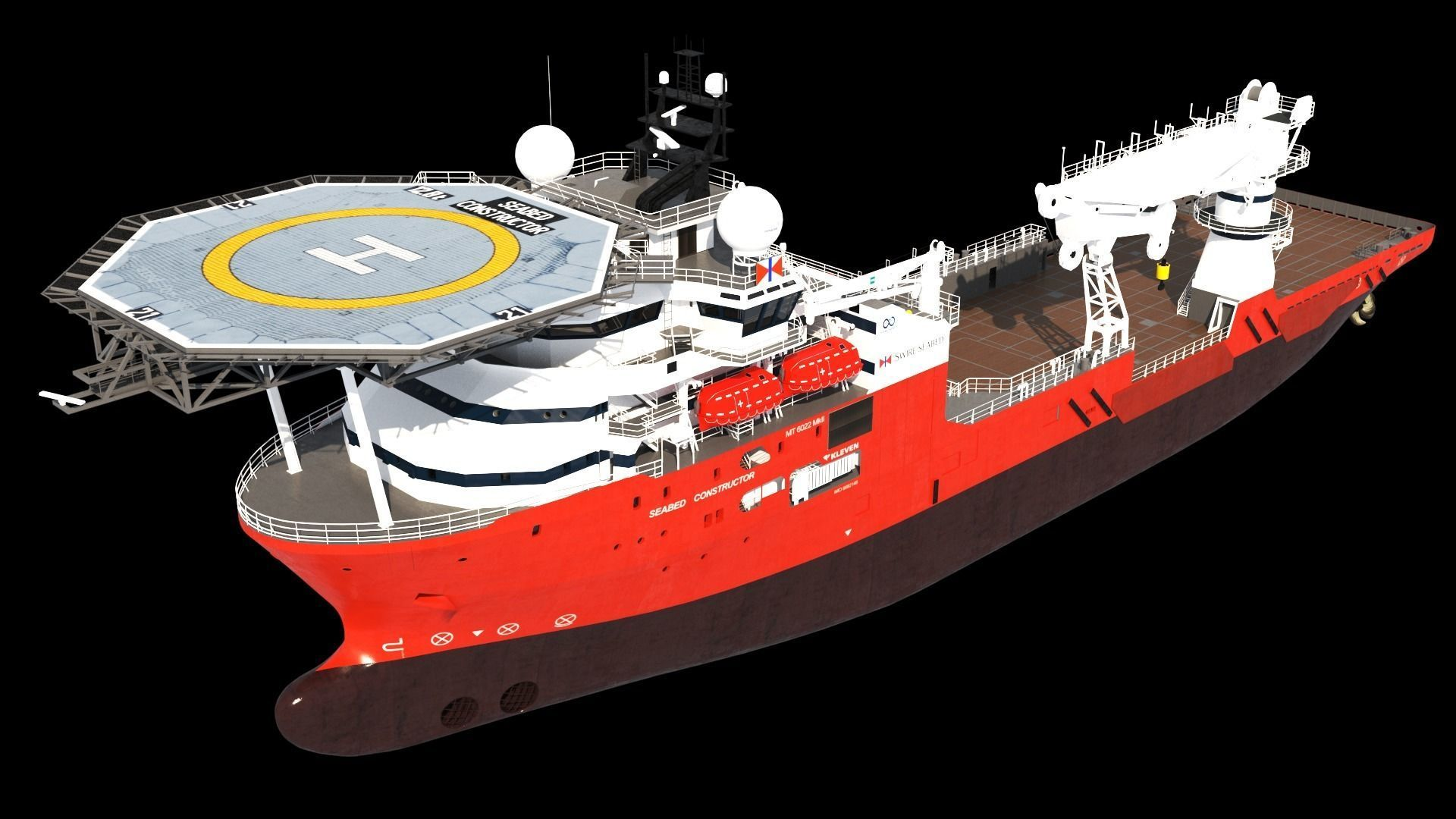 Subsea support and construction vessel