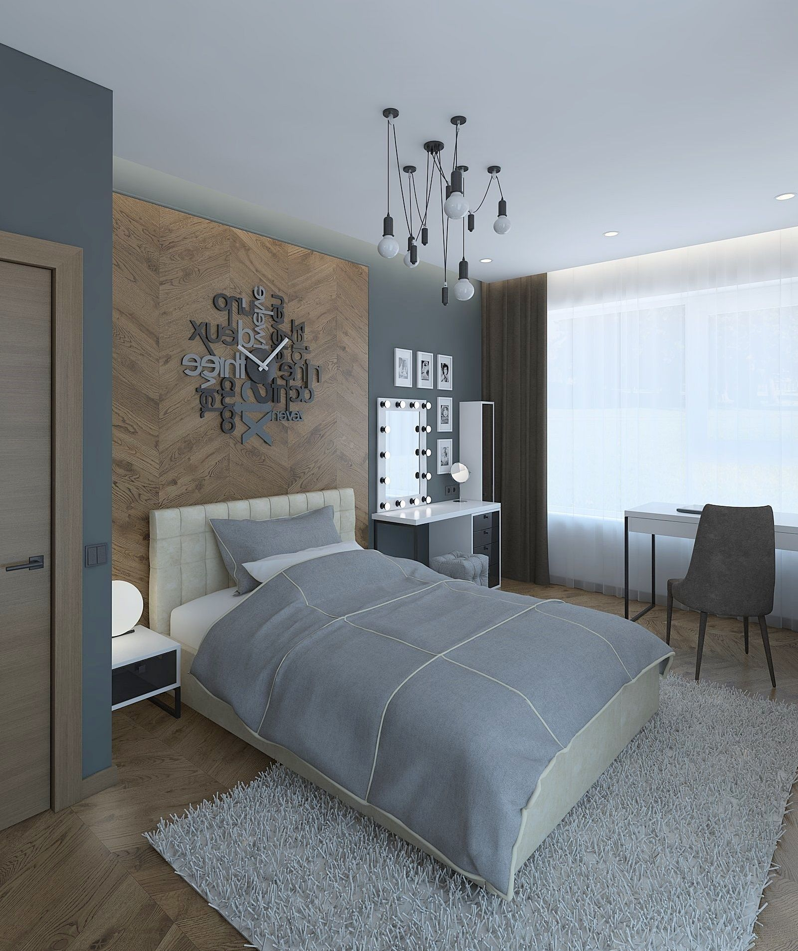 Beautiful girls room with parquet wall | 3D model